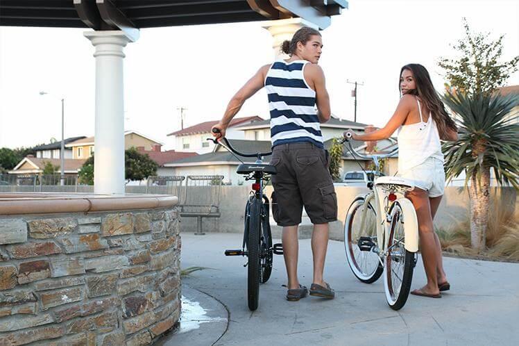 his and hers old school beach cruiser bike